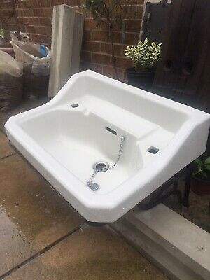 Johnsons Bros Hanley Ltd Antique Sink  with Original Cast Iron Stand Good Cond