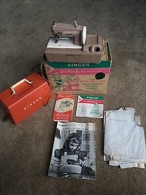 Vintage Singer Sew Handy Electric Portable Sewing Machine in ORIGINAL BOX PAPERS
