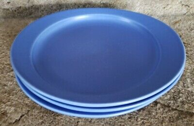 "HOGANAS KERAMIK STENGODS BLUE DINNER PLATES SWEDEN POTTERY 9.5"" by 8.5"" LOT OF 3"