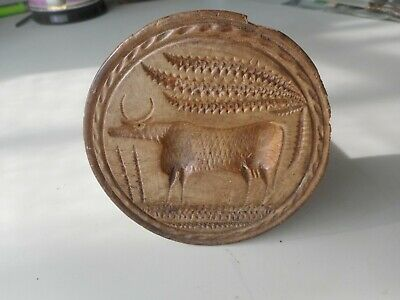 Antique hand carved primitive COW Butter Stamp.  Butter Print / Press / Mold