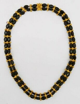 Splendid Authentic Ancient Persian Garnet Bead & Gold Necklace 22'' 6th-4th BCE