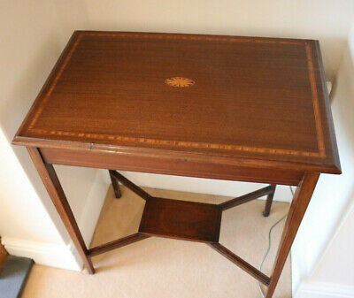 Antique lamp table with marquetry detail 60wide x 40d x 70 cms high