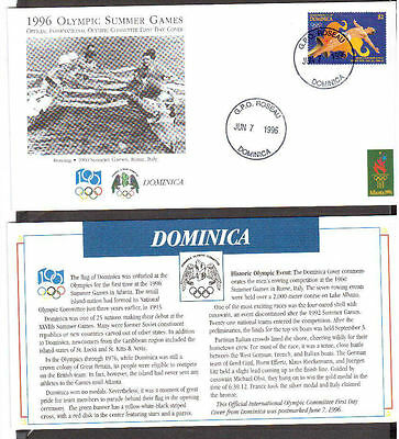 Atlanta 1996 Olympic Games First Day Covers FDC.Dominica Stamp.1960 Italy.Rowing