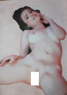 Original Art Painting nude woman female pinup