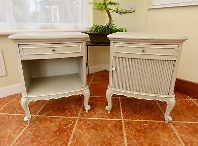 Pair Of Vintage French Painted Bedside Cabinets Louis Xv Style Circa 1960