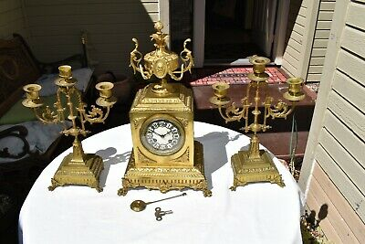 Antique French Gilt Brass Clock ONE OF A KIND 1781 W/Candle Sticks A.Morel