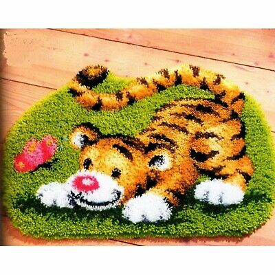 PLAYFUL TIGER CUB LATCH HOOK RUG KIT from UK Seller, BRAND NEW