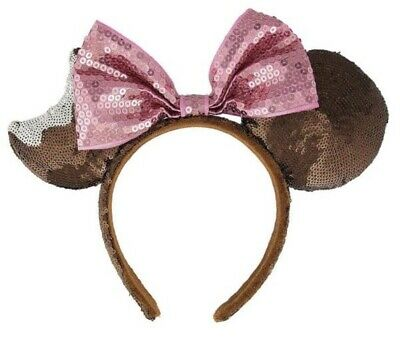 Disney Parks Ice Cream Pink Chocolate Mouse Ears Hat Headband Bow Minnie - NEW