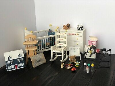 Vintage Wood Dollhouse Miniature Baby's Room Set/Crib/Dresser and More,Unbranded