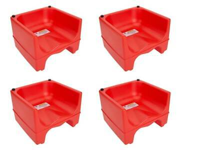 (4-Pack) RED Dual Height Plastic Stackable Restaurant Child Booster Chair Seats