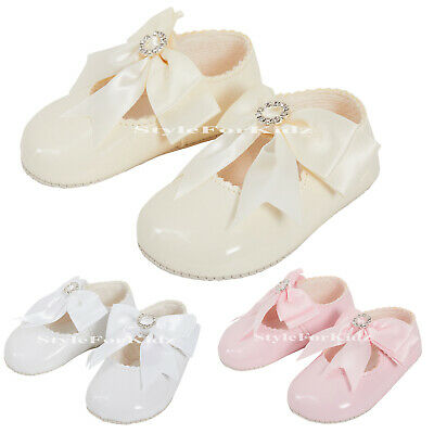 Baby Girls Hoes White Ivory Pink Christening Weddding Spanish Bow Diamante Shoes