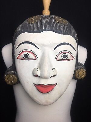 LARGE Antique Asian Women Hand Carved And Painted Wood Mask