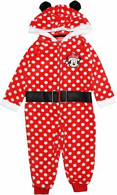 Disney Minnie Mouse Girls Spots Coral Fleece Winter Christams Pyjamas