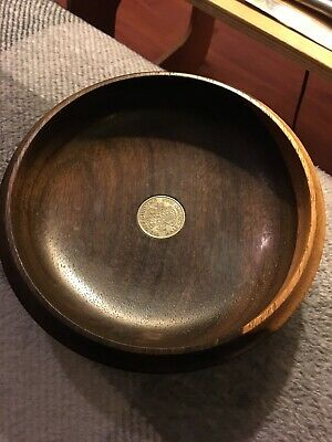 VINTAGE HAND TURNED TREEN WOODEN BOWL INSET WITH HALF CROWN By N B Hodgson