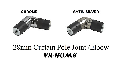 NEW Single Corner 28mm Curtain Pole Joint /Elbow, For Curtain Bay Windows