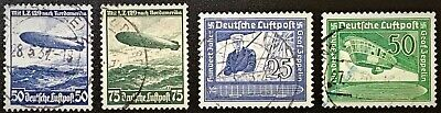 GERMANY #C57-C58 and C59-C60 NAZI AIRMAIL ZEPPELIN USED NEVER HINGED VF (16-24)