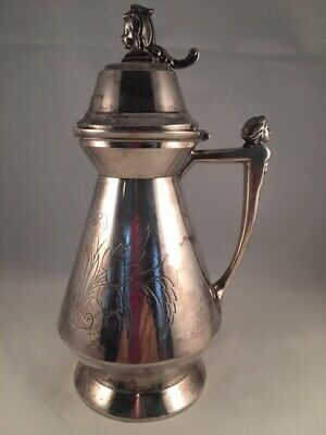 Lovely Vintage or Antique Figural Head Silverplate Syrup Pitcher