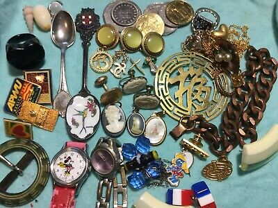 Junk Drawer Lot Antique Jewelry, Coins, Spoons, Pins, Watches Rings Vintage.