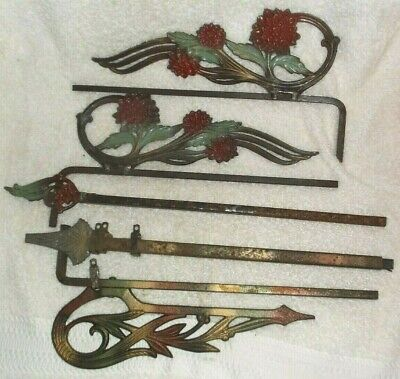 Antique Ornate Metal Curtain Drape Hangers Brackets Rods System Pieces