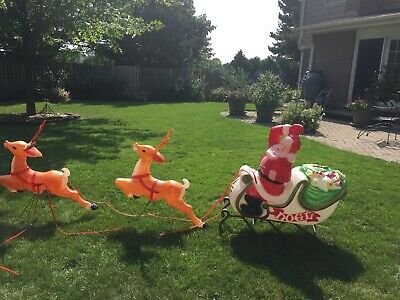 Blow Mold Empire Sleigh Santa With 2 Reindeer  Outdoor Christmas Lighted Vintage