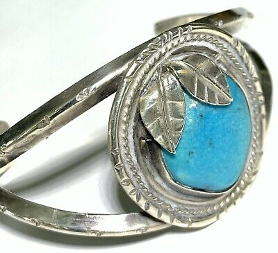 Antique Vintage Likely Sterling Silver Native American Bangle Bracelet Turquoise