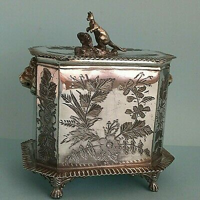Victorian Antique Silver Plated Old Tea Caddy 1890s Vintage Australiana Kangaroo