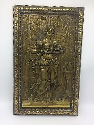 Antique BRADLEY HUBBARD Wall Plaque-Beautiful Bronze/Brass Lady Holding Tray USA