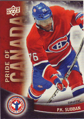 P.k. Subban 2011/12 11/12 Upperdeck National Hockey Card Day #7  Pride Of Canada