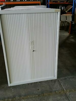 2 Tambour Door Storage Unit - White