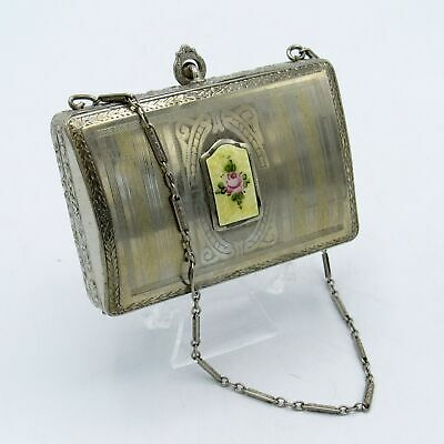 Antique Art Deco Silver w/ Gold & Yellow Guilloche Dance Compact FINBERG Co., NR