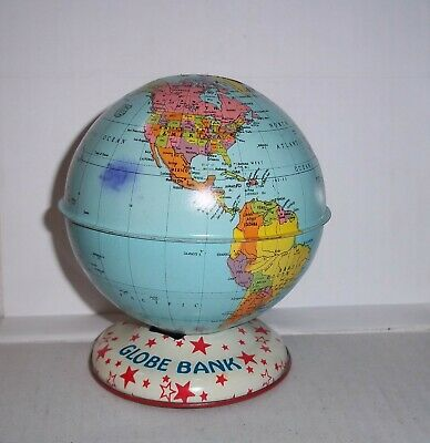 Vintage Tin Metal World Globe Still Bank By J. Chein & Co Made In The U.s.a Toy
