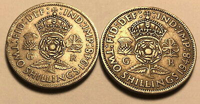 Lot of 2 - Great Britain (UK) 1948 Florin (2 Shillings) Coins - King George VI