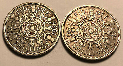Lot of 2 - Great Britain (UK) 1956 & 1957 Florin (Two Shillings) Coins