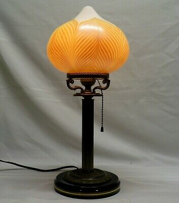 Antique Brass Columnar Accent Lamp with Bulbous Pulled Feather Art Glass Shade