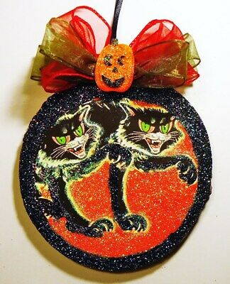 Hand Made   VTG REPRO SCARY BLACK CATS   glittered WOOD SLICE HALLOWEEN Ornament