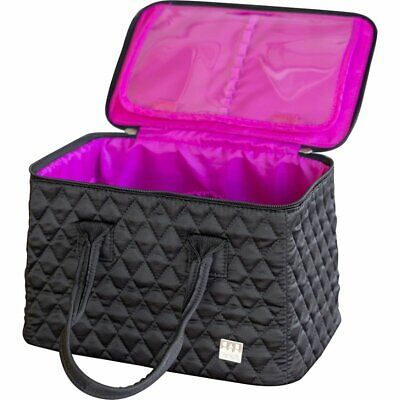 Caboodles Heartthrob It Bag Travel Case Black Diamond Quilted Fabric