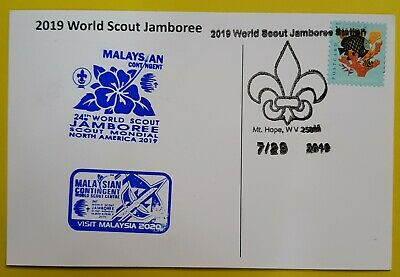 24th world scout jamboree 2019  Postmark on USPS official postcard and MALAYSIA