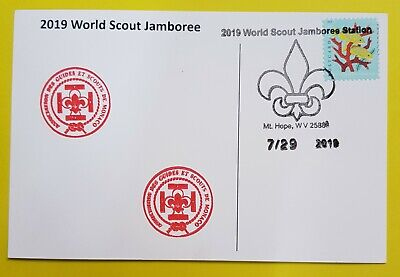 24th world scout jamboree 2019  Postmark on USPS official postcard and MONACO