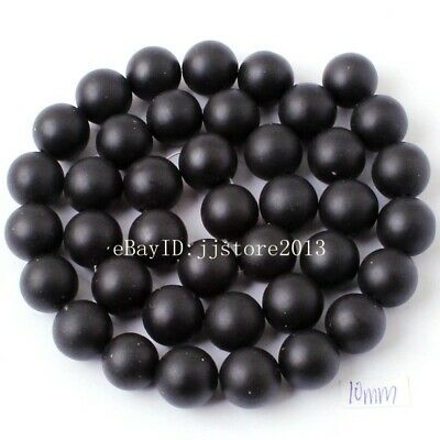 10mm Natural Frosted Black Agate Onyx Round Shape DIY Gem Loose Beads Strand 15""