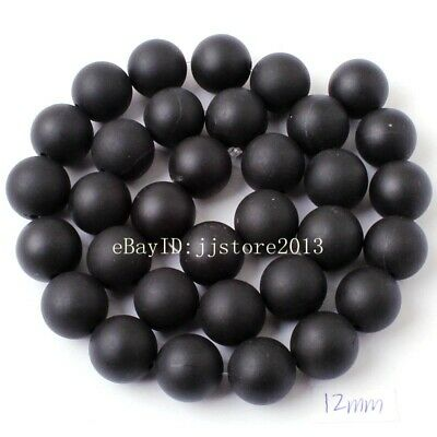 12mm Natural Frosted Black Agate Onyx Round Shape Gem DIY Loose Beads Strand 15""