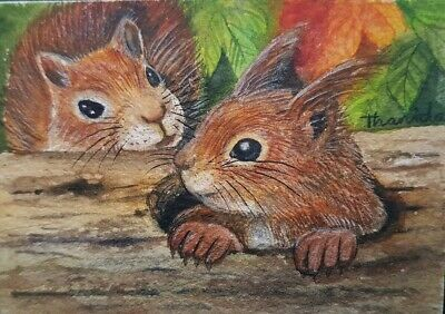 ORIGINAL ACEO Painting Art Cat Gift Decor Collect Squirrel Couple Love