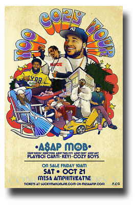 """ASAP Mob Rocky Poster - 11""""x17"""" Concert Too Cozy Tour SHIPS SAMEDAY FROM  USA"""
