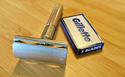 vintage Gillette TECH double edge DE safety razor fat handle triangle slots