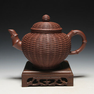 OldZiSha-China Yixing Zisha Pottery Old Bamboo Teapot By Master Wang YinXian