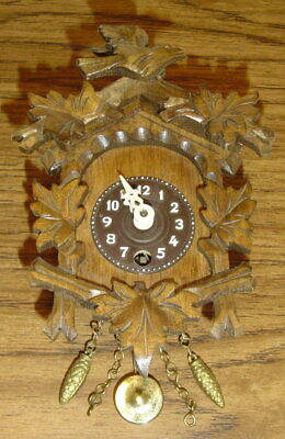 Vintage Small German Pendulum Wind-Up Wood Carved Clock Birds - Not Cuckoo