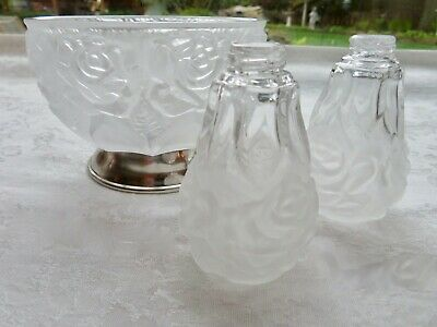 VTG 24% Lead Crystal Frosted Bowl w/ Matching Salt/Pepper - WA Silver Plate Base