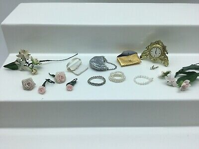 Vintage Barbie Accessories Lot Purse Necklace Flowers Clock Earrings Wedding