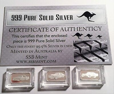 """3 x 1 Gram """"Muscle Car Series"""" 999.0 Pure Silver Bullion Ingots with C.O.A."""