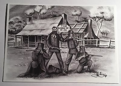 """The Kelly Gang"" in front of Ann Jones Inn Glenrowan, Post Card. Ned Kelly, Guns"