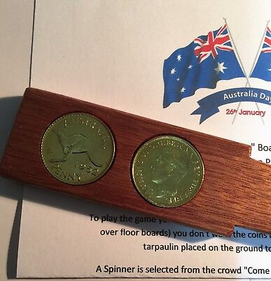 "Australia Day ""Two-Up"" Set With 2 x 24k 999 Gold Plated Pennies, Coins, Gift"